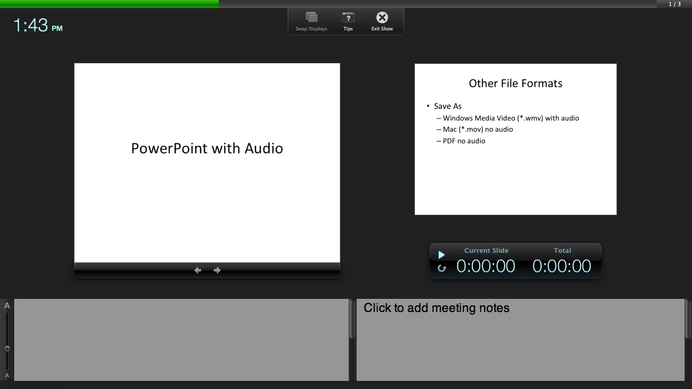 Recording a Slideshow in Keynote