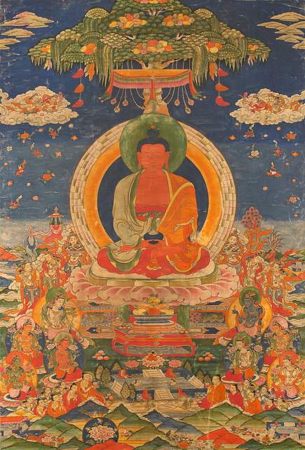 Amitabha Buddha, Central Tibet, 19th century; pigment on cloth; 38 1/2 x 25 1/2 in.; The Rubin Museum of Art, New York, F1997.6.3.