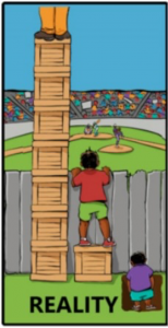 """Image titled """"Reality"""" depicting 3 people trying to look over a fence. One person stands on several boxes and is taller than the fence. Next person stands on one box and can just see over the fence. The third figure stands in a whole and cannot see over the fence."""