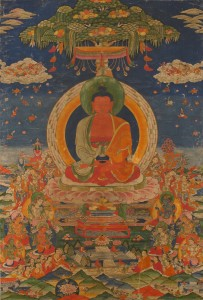 1. Amitabha Buddha, Central Tibet, 19th century; pigment on cloth; 38 1/2 x 25 1/2 in.; The Rubin Museum of Art, New York, F1997.6.3.