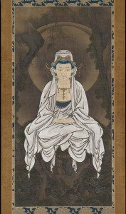 10b. White-robed Kannon, Bodhisattva of Compassion, Kano Motonobu (1476–1559), Japan, ca. first half of the 16th century; hanging scroll, ink, color and gold on silk; 61 7/8 x 30 1/16 in.; Museum of Fine Arts, Boston, Fenollosa-Weld Collection, 11.4267, photo: Wikimedia Commons.