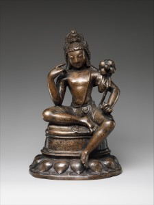 Fig. 7: Avalokiteshvara or Padmapani, Pakistan (Swat Valley) or Kashmir, 7th century; bronze inlaid with silver and copper; H. 83/4 in., W. 5 ¾ in., D. 4 1/8 in.; The Metropolitan Museum of Art, Harris Brisbane Dick and Fletcher Funds, 1974, 1974.273.