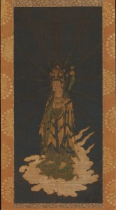 13. Descent of Eleven-headed Kannon (Avalokiteshvara), Japan, Kamakura period, 14th century; hanging scroll, ink, color, gold, and cut gold on silk; image: 33 15/16 x 15 1/4 in., mount: 64 1/4 x 19 1/2 in., The Metropolitan Museum of Art, Purchase, Charles Wrightsman Gift, Joseph Pulitzer Bequest, Dodge, Pfeiffer and Rogers Funds, and funds from various donors, 1972, 1972.181, photo: www.metmuseum.org.