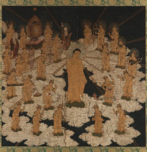 13a. Welcoming Descent of the Buddha of Infinite Light and Twenty-five Bodhisattvas, Japan, Kamakura period, early 14th century; ink, gold, and color on silk; 62 5/16 x 63 11/16 in.; Freer Gallery of Art and Arthur M. Sackler Gallery, Gift of Charles Lang Freer, F1911.475.