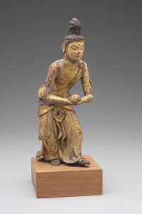13b. Kannon Holding a Lotus Seat, Japan, Edo period, traditionally attributed to the 13th century but probably 17th century; wood with gilt lacquer; object: H. 11 1/4 in., base: 1 15/16 x 4 15/16 x 4 15/16 in.; Yale University Art Gallery, Gift of Mr. and Mrs. William B. Jaffe, 1968.104.3.