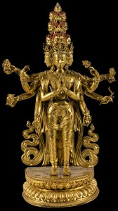 15. Ekadash15. Eleven-headed Avalokiteshvara, Tibet or China, 17th–18th century; gilded bronze; 15 15/16 x 9 1/2 in.; Jacques Marchais Museum of Tibetan Art, 85.04.0160.amukha 85.04.0160 edited