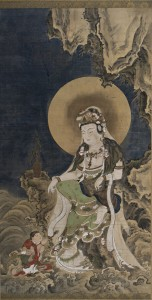 16. Kannon (Avalokiteshvara), Japan, Edo period, 1615–1868; hanging scroll, ink and color on silk; image: 61 7/8 x 33 in., mount: 87 7/8 x 39 1/2 in.; The Frances Lehman Loeb Art Center, Vassar College, Gift of Daniele Selby '13, 2014.20.1.