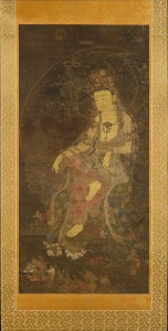 16a. Water-Moon Avalokiteshvara, Korea, Goryeo dynasty, first half of the 14th century; hanging scroll, ink and color on silk; image: 45 1/16 x 21 7/8 in., mount: 79 3/8 x 28 in.; The Metropolitan Museum of Art, Charles Stewart Smith Collection, Gift of Mrs. Charles Stewart Smith, Charles Stewart Smith Jr., and Howard Caswell Smith, in memory of Charles Stewart Smith, 1914, 14.76.6, photo: www.metmuseum.org.