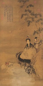 16b. Guanyin Acolytes, China, Yuan Dynasty, 1313; ink and color on silk; 41 1/2 x 21 1/2 in.; National Palace Museum, Taipei, 001957N0000000001.