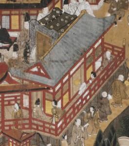 18b. Buddhist Worship in a Shrine, Nachi Pilgrimage Mandala, detail.