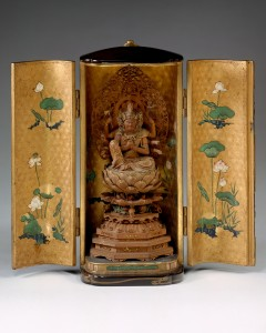 23b. Portable Shrine with the Horse-headed Kannon, Japan, Edo period, ca. 1620; fruitwood with cut-out gold, lacquered case with maki-e decoration; shrine: 7 3/4 x 3 1/2 x 3 in., statue: H. 2 5/16; The Metropolitan Museum of Art, Purchase, Friends of Far Eastern Arts Gifts, 1985, photo: www.metmuseum.org.