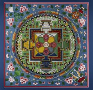 25. Avalokiteshvara Mandala, India, Dharamsala, September 1991; painting on cloth; image: 22 3/4 x 22 3/4 in., framed: 29 3/4 x 29 1/2 in.; Jacques Marchais Museum of Tibetan Art, 92.11.1025.