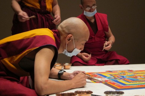 Khenpo Choephel at Work on a Mandala