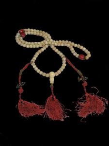 27. Mother of Pearl Prayer Beads, Tibet, early 19th century; mother of pearl, coral, ivory, silver alloy, copper alloy; 21 3/4 x 2 1/8 x 1/2 in.; The Rubin Museum of Art, New York, Gift of Anne Breckenridge Dorsey, C2012.49.