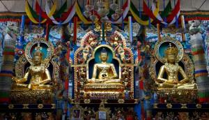 28-30a. Altar with Statues of Padmasambhava, Shakyamuni Buddha, and Amitayus, Namdroling Monastery, Bylakuppe, India, 2012, photo: H.S. Sahyadri, Wikimedia Commons.
