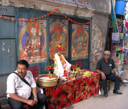Devotees Wait for Priests to Come and Receive Alms on the Buddhist Festival of Panjaran in Kathmandu