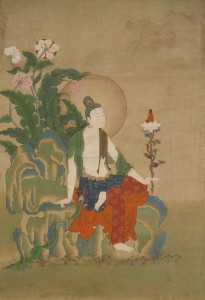 4. Avalokiteshvara, One of the Eight Great Bodhisattvas, Eastern Tibet, 18th century; pigment on cloth with silk mount; 39 3/8 x 20 3/4 x 1/2 in.; The Rubin Museum of Art, New York, C2008.9.