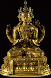 5. Four–Armed Avalokiteshvara, China or Tibet, 18th–19th century; gilded metal with inlays; 10 1/4 x 7 1/4 in.; Jacques Marchais Museum of Tibetan Art, 85.04.0682.