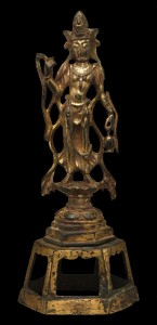 7. Bodhisattva Avalokiteshvara (Guanyin), China, Tang dynasty, late 7th–8th century; gilt leaded bronze, piece-mold cast; H. 9 1/6 in.; The Metropolitan Museum of Art, Fletcher Fund, 1933, 33.91, photo: www.metmuseum.org.