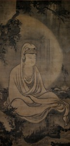 9a. Guanyin in White Robe, Japan, early Ming copy after Muqi Fachang (active mid–13th century); ink on silk; Nantoyoso Collection, Japan, photo: Wikimedia Commons.