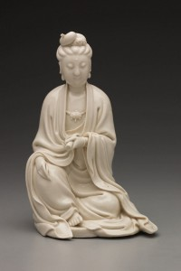 8c. White-robed Guanyin, China, Fujian, Dehua, Qing dynasty, 17th century; porcelain with ivory-white glaze; 9 1/2 x 5 7/8 in.; Yale University Art Gallery, Gift of Dr. Yale Kneeland, Jr., B.A. 1922, 1956.42.12.