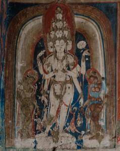 13c. Eleven–headed Avalokiteshvara, Western Tibet, Dungkar, mid–10th–12th century; wall painting, photo: Filippo Zonta, 2013.