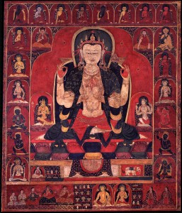 24. The All-seeing Lord with Four Arms, Avalokiteshvara Chaturbhuja, Tibet, 14th–15th century; pigment on cloth; 22 1/4 x 18 1/2 in.; The Rubin Museum of Art, New York, C2002.8.1.