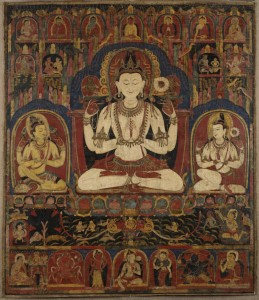4a. Shadakshari Triad and Other Deities, Tibet, early 12th century; pigment on cotton; 34 x 29 3/8 in.; The Walters Art Museum, Baltimore, Promised gift of John and Berthe Ford, F.120.