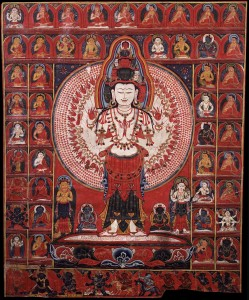 6. The All-seeing Lord Avalokiteshvara, Tibet, 14th–15th century; ground mineral pigment on cotton; 29 1⁄4 x 25 1⁄4 x 1 1⁄4 in.; The Rubin Museum of Art, New York, C2006.66.190.