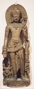 7a. Avalokiteshvara Holding a Lotus Flower, India, Bihar, Nalanda, Pala period, 9th century; stone; ca. 42 x 15 in., National Museum, New Delhi, India, photo: Wikimedia Commons.