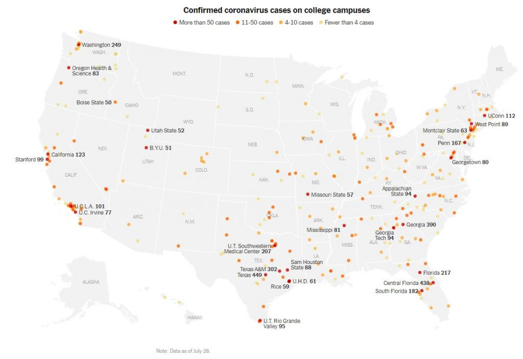 Confirmed coronavirus cases on college campuses, New York Times, July 29, 2020