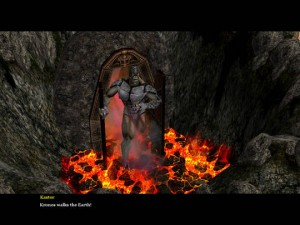 Kronos steps out of Tartarus and into a cozy looking pit of lava.