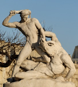 Theseus battles the Minotaur