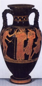 Nausea finds Odysseus. Greek Vase Painting