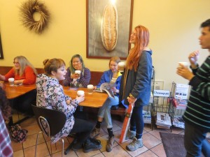 The class relaxes with some coffee at Bread Alone Bakery in Rhinebeck.