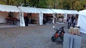 Artisan fair feat. vintage motorcycle and twinkly lights