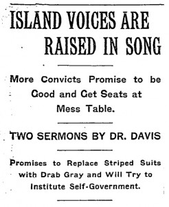 July 13, 1914 NYT headline about Davis' handling of an uprising at the Blackwell's Island Prison