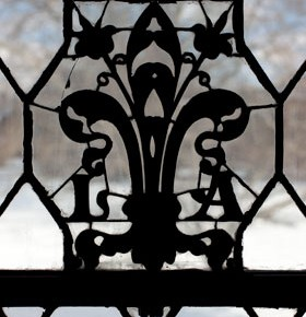 Printers mark detail from southeast window