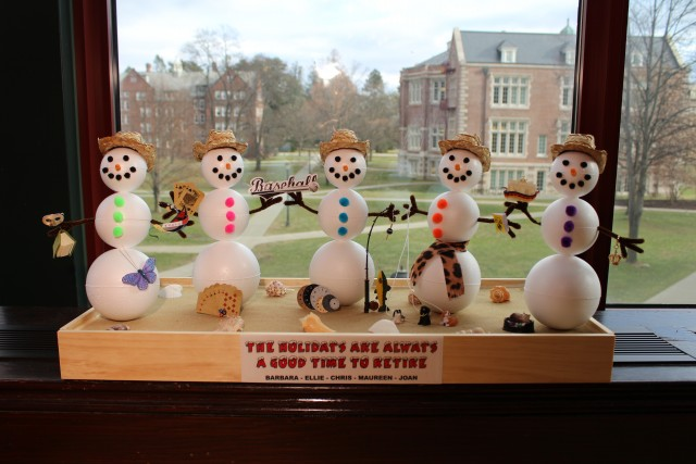 Snowmen 3D art depicting five retirees from Vassar College Libraries