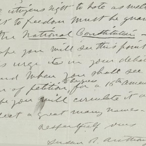 Closeup of page 2, Anthony, Susan B. -- to Thomas C. Powell, Oct 22, 1876
