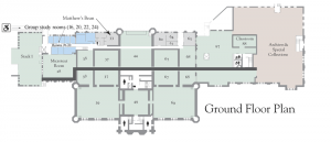 Ground floor plan showing location of group study rooms (click to enlarge)