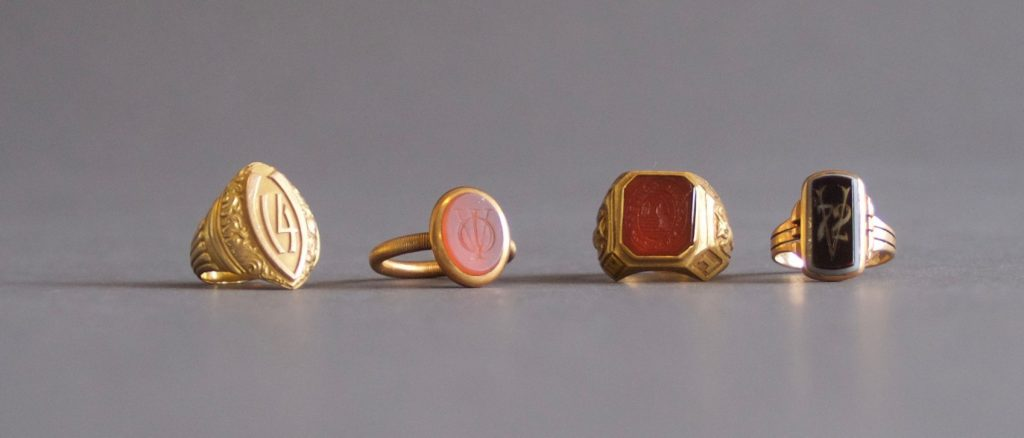 Sampling of class rings held by the VC Archives & Special Collections Library