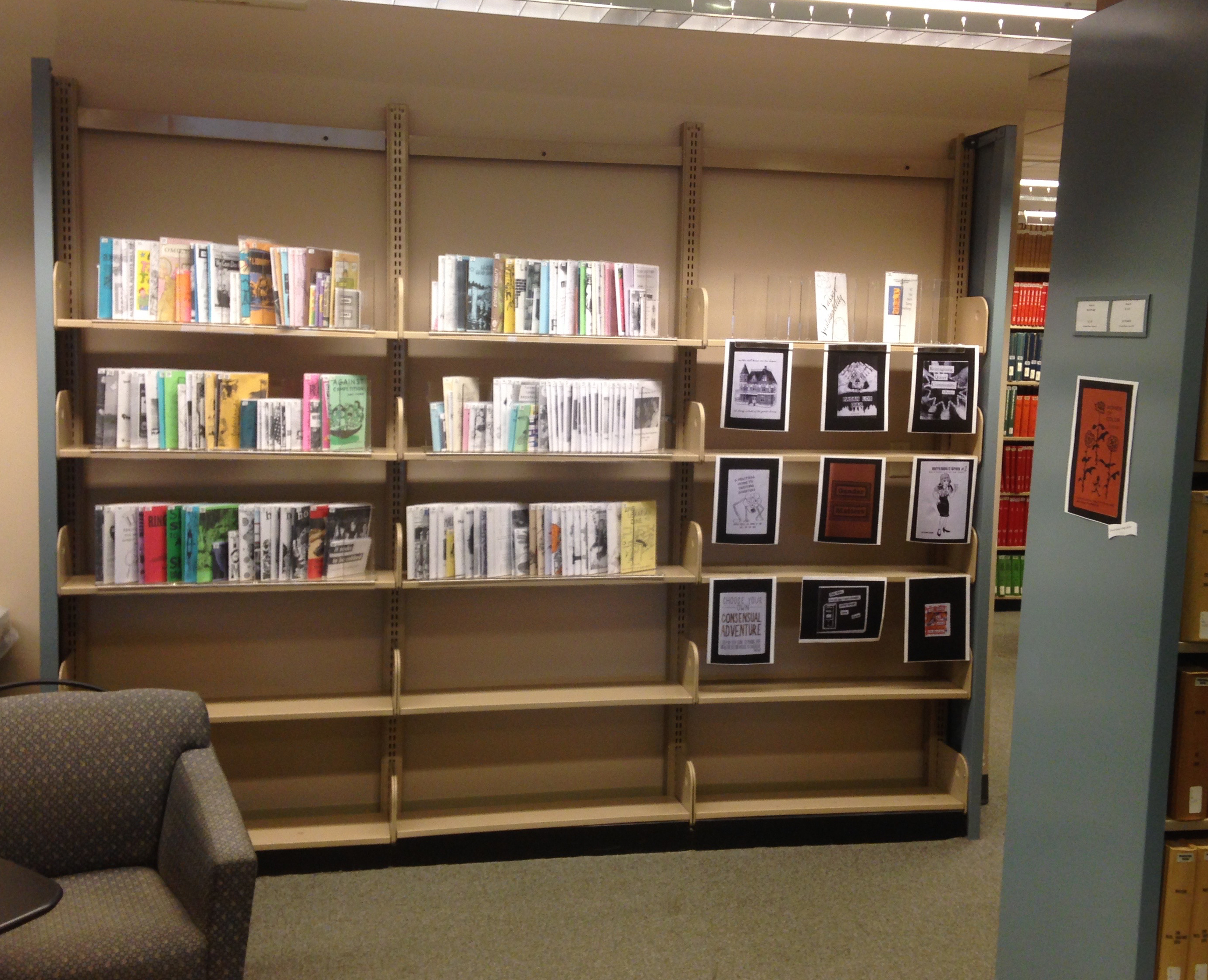 The zines area on the second floor of Thompson (Main) Library