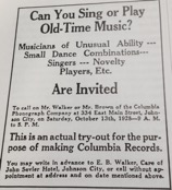 This 1928 Columbia Records advertisement shows an early call to arms for Appalachian musicians (Encyclopedia of Appalachia, p.1154).