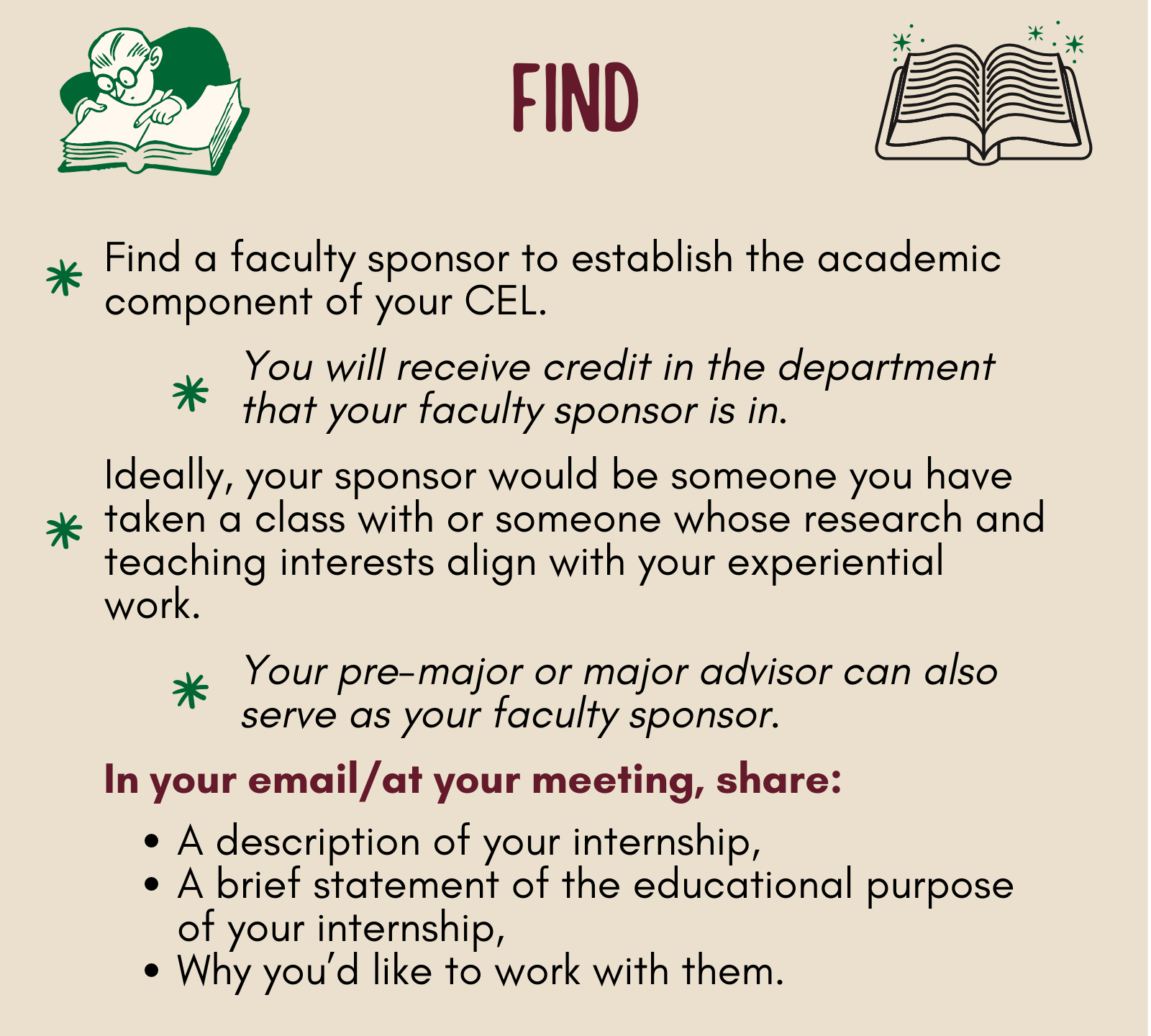 Find a faculty sponsor to oversee the academic component of your CEL.