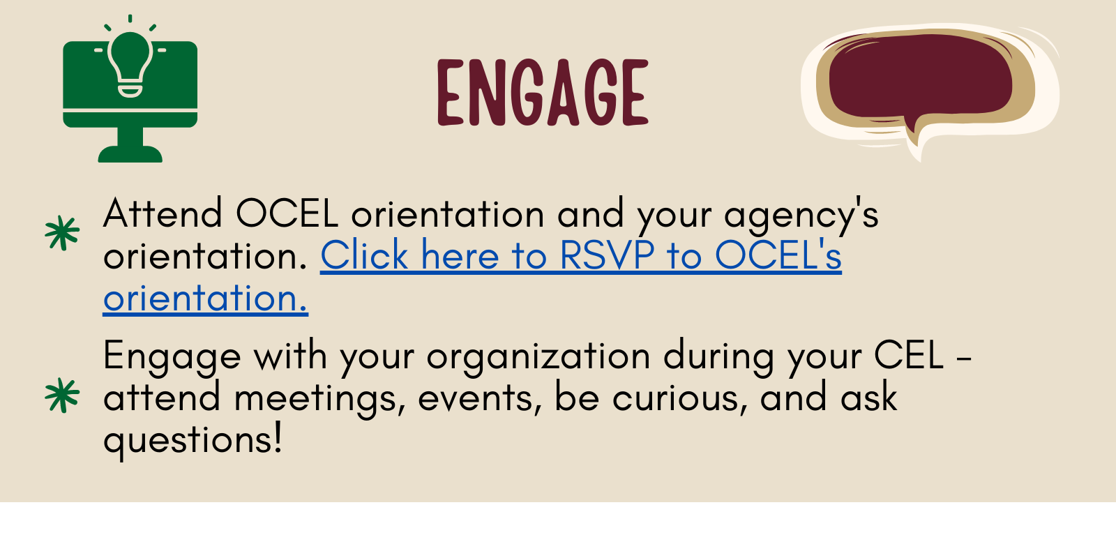 Click here to RSVP to OCEL Orientation
