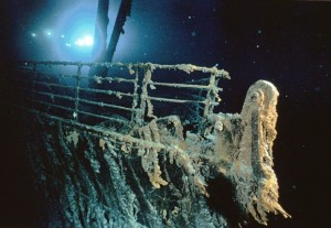 This is a picture of the sunken Titanic taken by Dr. Robert Ballard on July 5, 1985.