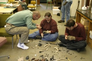 Anthropologists at George Washington University study  the art of flint knapping.