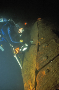 A diver takes a look at the hull of the 1758 Land Tortoise, the oldest known warship of its kind. During this project, the underwater archaeologists had around 16 minutes for each dive so planning was essential.
