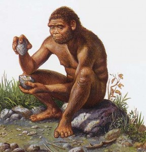 An artist's rendition of a member of the species Homo habilis making a tool of the Oldowan type.